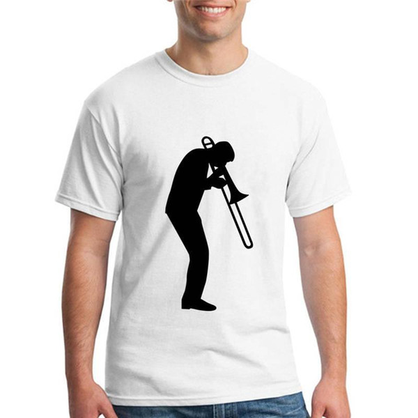 Tee Shirts Hipster Crew Neck Graphic Play Trombone Short Sleeve T Shirts For Men