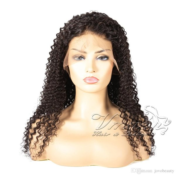 Indian 1b Natural Black Raw Virgin Cuticle Aligned Kinky Curly Full Lace Wig Human Hair Wigs For Black Women opp bag