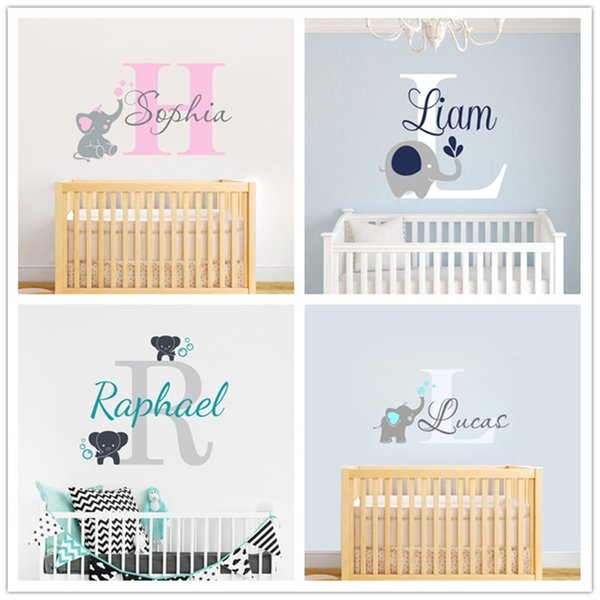 Joyreside Custom Personalized Name Color Baby Elephant Wall Decal Vinyl Sticker For Kid Boy Girls Room Nursery Decoration Xy001 Q190426