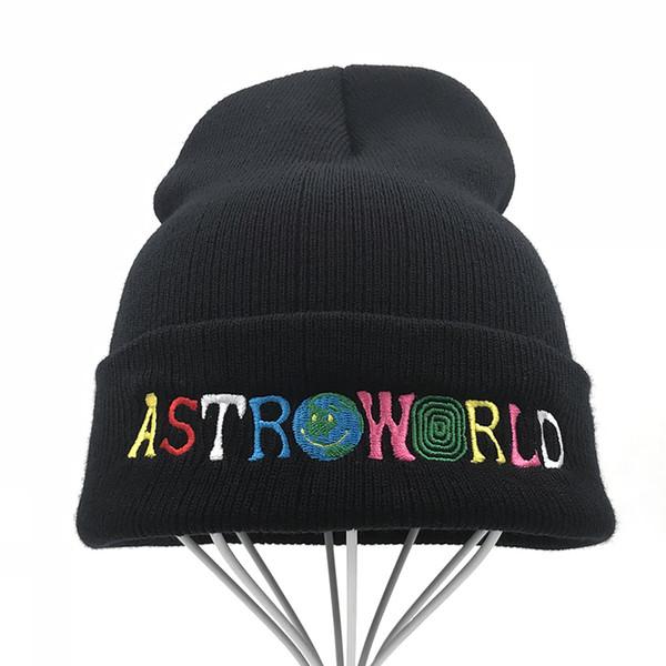 6af4d1be Travi$ Scott Knitted Hat 2018 New ASTROWORLD Beanie embroidery Astroworld Ski  Warm Winter Unisex Travis Scott Skullies Beanies