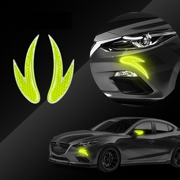 Pegatinas de automóviles 2 unids advertencia advertencia coche ssafety marca reflexivo tira rueda rueda rueda accesorios de cejas exteriores reflectores reflejar