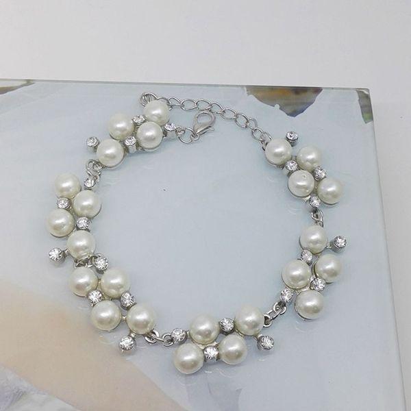 Elegant Fake Pearl Beads Bracelet Shellhard Fashion Rhinestone Crystal Bracelet Bangle For Women Wedding Jewelry Accessories