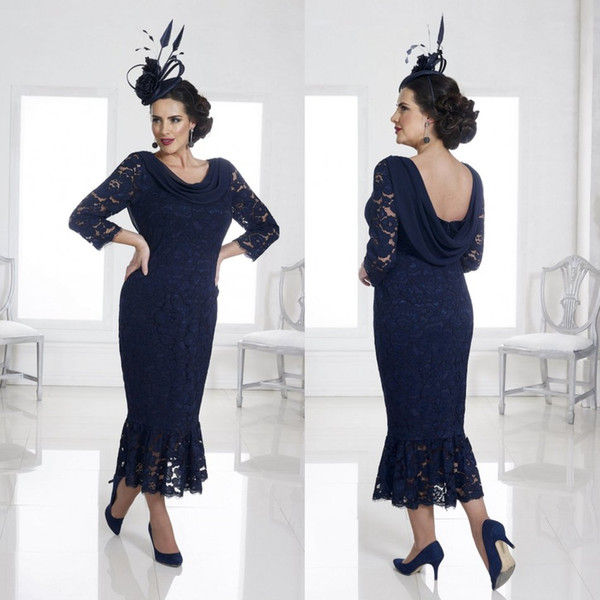 2020 Navy Mother Of The Bride Dresses Lace Appliqued Tea Length Plus Size Wedding Guest Dress For Groom Mother Formal Party Gowns