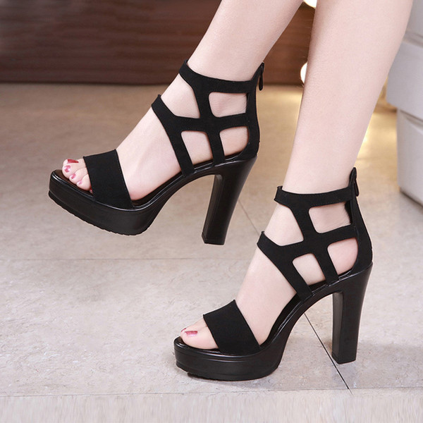 Hollow Out Sandal For Woman Fashion Platform Sexy Party Sandals Woman Shoes Summer Fish Mouth Zipper Sandal Chaussures