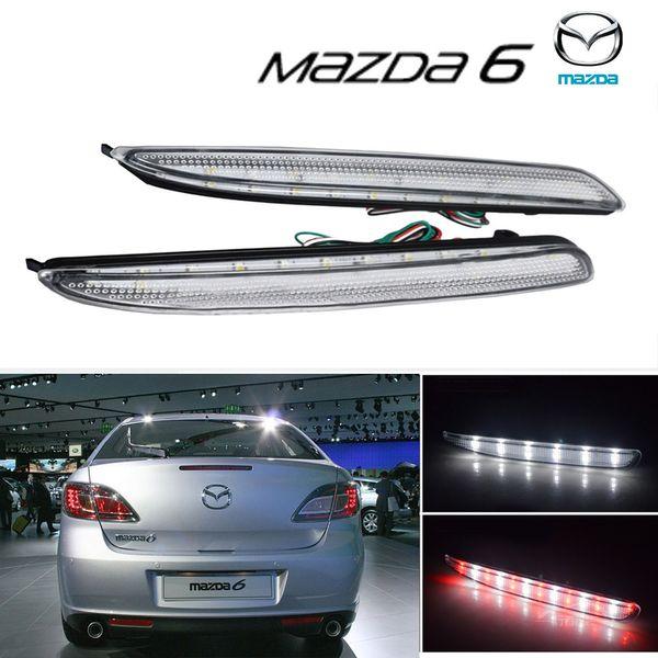 2x 6 Clear Rear Bumper Reflector Reflector LED Reverse Brake Light 6 MPS Atenza / white (CA172)