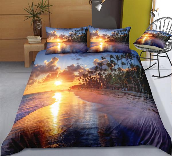 Juego de sábanas Cilected Tropical Palm Trees Sunset Landscape Coconuts Ocean Estampado nórdico 3D Fundas de almohada para adultos Juego de cama para niños