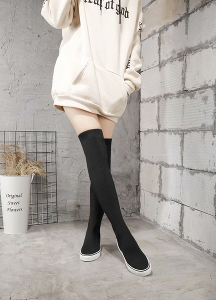 Thicken Knitted Elastic Fabri Size 34-40 Winter Over The Knee Boot Women Stretch Fabric Women Thigh High Sexy Woman Shoes Long Bota Feminina
