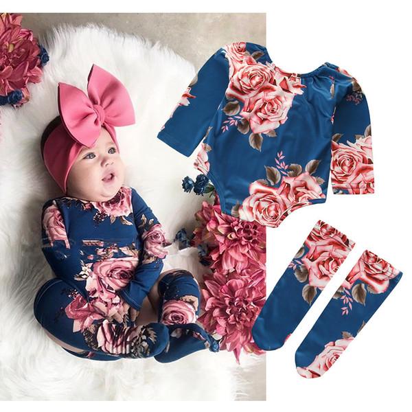 Frühling Neugeborenen Baby Bodys Langarm Oansatz Floral Bedruckte Baby Mädchen Overall 100% Baumwolle Baby Kleidung Body Mit Strumpf