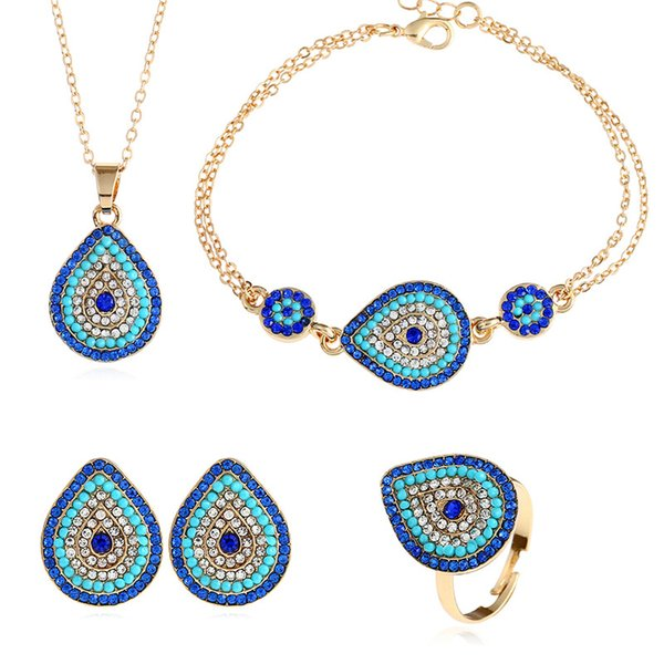 Wholesale Blue Evil Eye Pendant Necklace Earrings Set of 4 For Women Gold Color Cubic Zirconia Charm Feminino Bijuterias