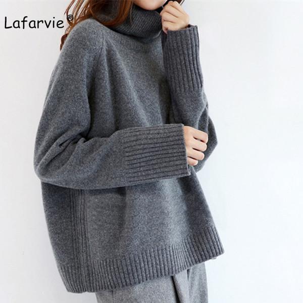 Lafarvie 2019 Nouveau cachemire Blended pull en tricot Femmes Hauts col roulé Automne Hiver Femme Pull en vrac Casual chaud Pull Y200116