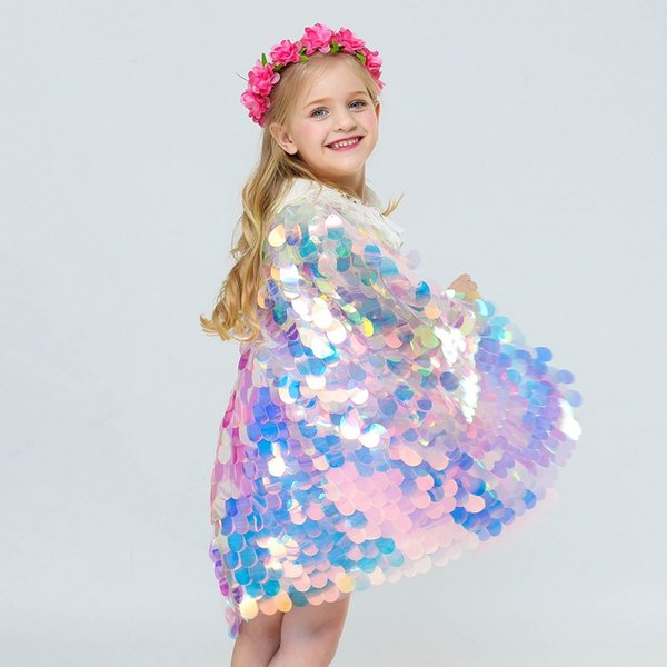 2019 New Girls Halloween Mermaid Cosplay Costumes Colorful Shinning Squins Polka Dots Cape for Kids