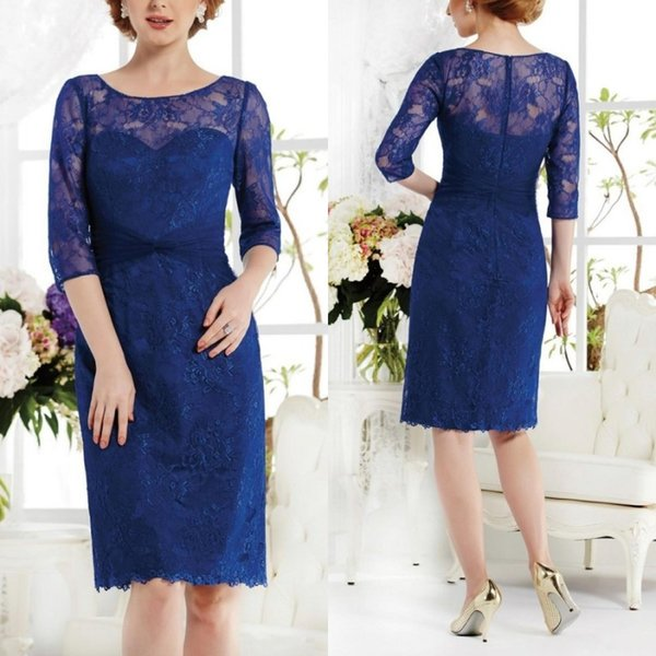 Chic 2019 Mother of The Bride Short Dresses Scoop Neck Half Length Sleeves Royal Blue Lace Knee Length Cocktail Dresses