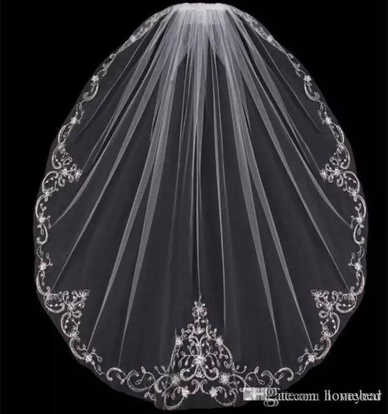 Nuovo arrivo uno strato punta delle dita veli da sposa applique paillettes perline bordo a buon mercato tulle velo da sposa per la sposa con pettine