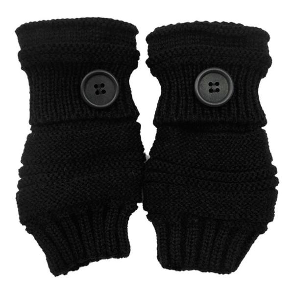 Women Girls Winter Thicken Ribbed Knitted Fingerless Gloves Wrist Length Thread Crochet Big Button Decor Mittens New 2019