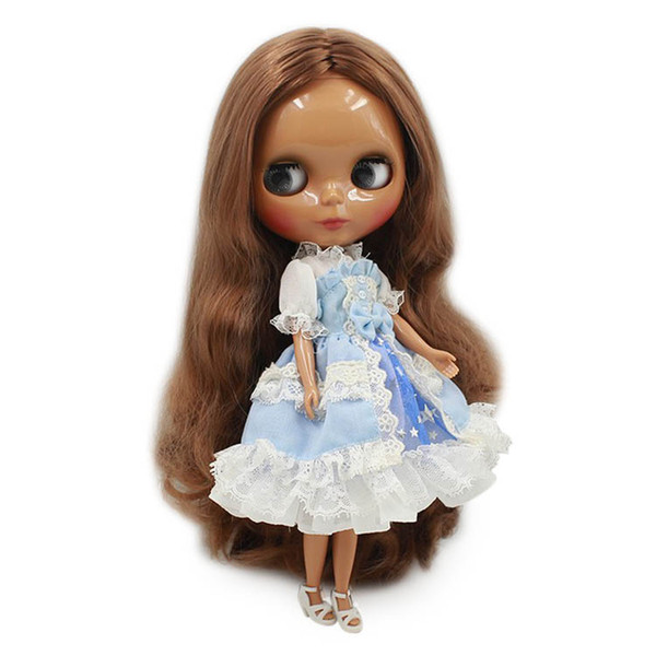 Blyth nude doll brown wavy hair central cut dark skin normal body ICY NEO suitable for DIY No.280BL9158 Toy gift