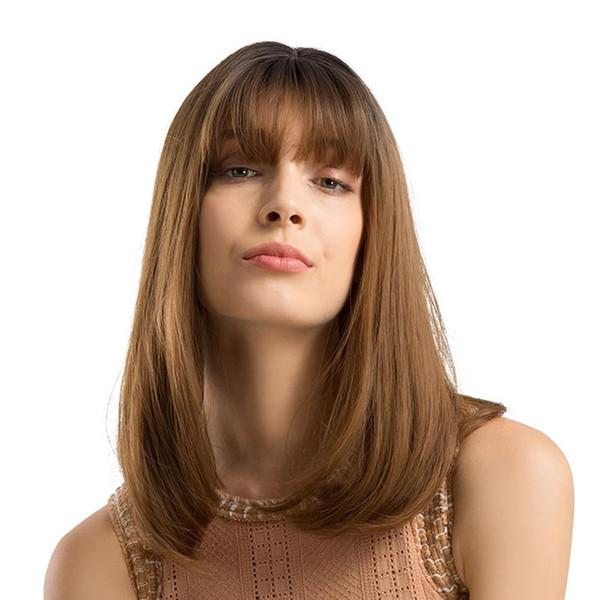 Mujeres Ombre pelucas con flequillo onda natural rizado largo resistente al calor peluca sintética aspecto natural y tacto suave LLD-LC170