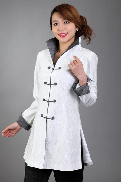 Branco das Mulheres Chinesas de Cetim De Seda Bordado Casaco Longo Casaco Flores Tamanho S M L XL XXL XXXL Frete Grátis MN 0120