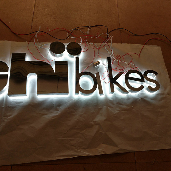 Outdoor Custom stainless steel 3D led logo halo lit Comany indoor reception signages