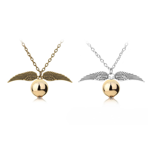 Fashion Harry P Necklace Men Women Vintage Style Angel Wing Charm Golden Snitch Pendant Necklace for Potter Movie Fans Accessories