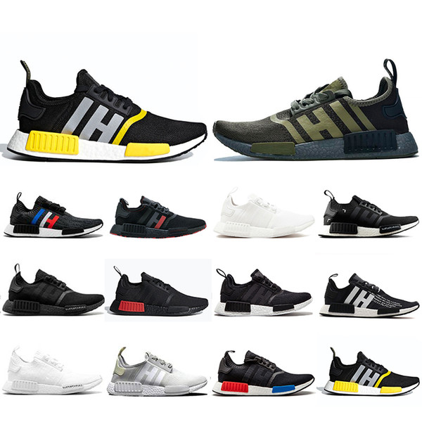 New Arrival NMD R1 Mens Running Shoes Military Green Oreo atmos Bred Tri-Color OG Classic Men Women mastermind japan Sports Trainer Sneakers