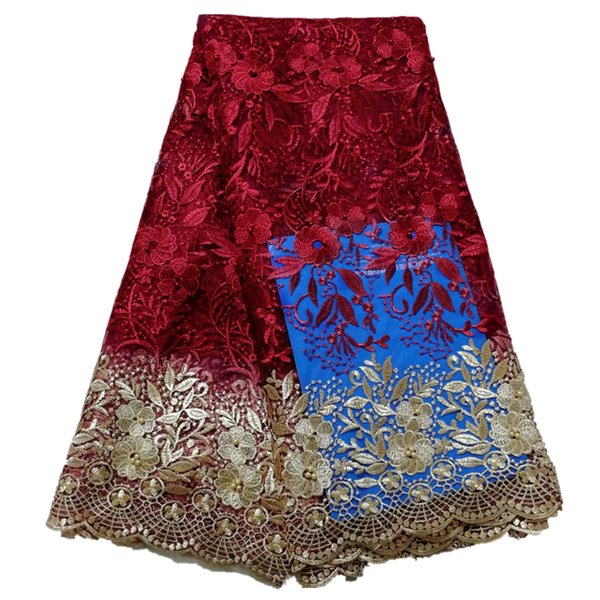 Hot selling French Lace Fabrics Gold Embroidered Net lace Fabric With Beads and Stones African Tulle Lace For Dress 5 Yards