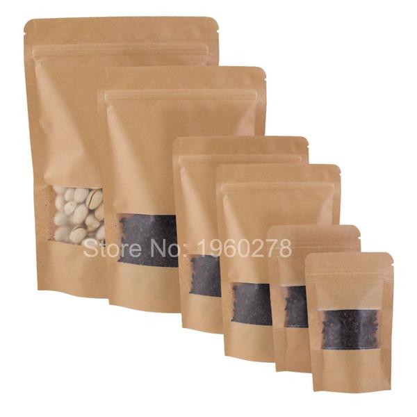 Pencere yüksek kaliteli 100pcs Suya Stand Up Paketi Zip Kilit Torbalar Gözyaşı Çentik Kahverengi Kraft Kağıt Saklama çantası