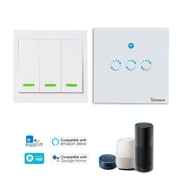 SONOFF T1 3 Gang Smart WiFi Wall Light Switch 433MHz RF/APP/Touch Control Transmitter UK Panel for Alexa Google Home