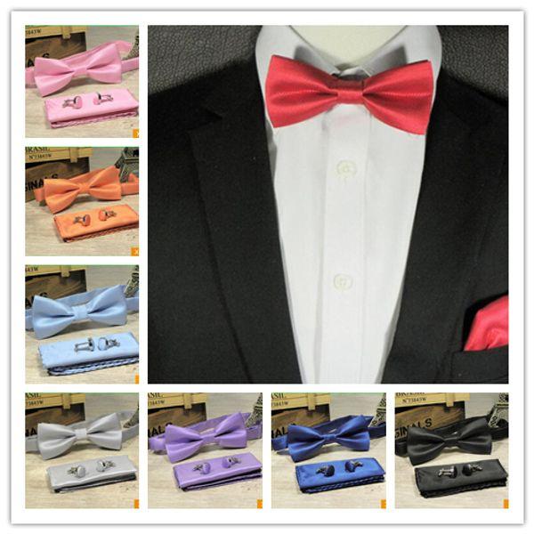 3pcs / ensemble solide noeuds papillon ensemble 15 couleurs mens mode noeud papillon mouchoir boutons de manchette ensembles smoking accessoires pour costume de fête de mariage