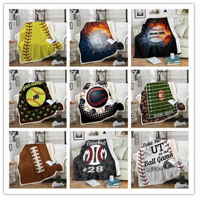 best selling 3D Printing Blanket Baseball Rugby Basketball Football Volleyball Thickening Blankets Your Name Sell Well With High Quality