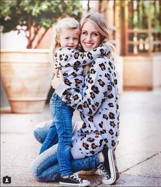 MotherDaughter Family Matching Femmes Fille Garçons De Mode Automne Sweat Tops Vêtements Imprimé Léopard Pull Tops