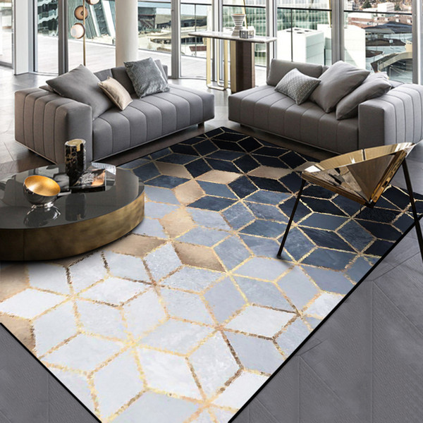 Moda moderna astratta dorata nero grigio diamanti porta piede bagno cucina tappetino soggiorno camera da letto decorativo tappeto zona tappeto
