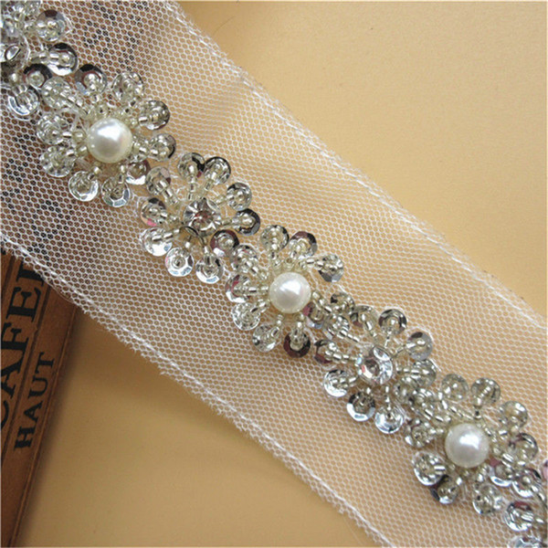 1 Yard Silver Rhinestone Chain Crystal Gem Ribbon Lace Edge Trim 5.5 cm Wide Diamond Pearl Bead Trimming DIY Sewing Wedding Dress Sash Belt