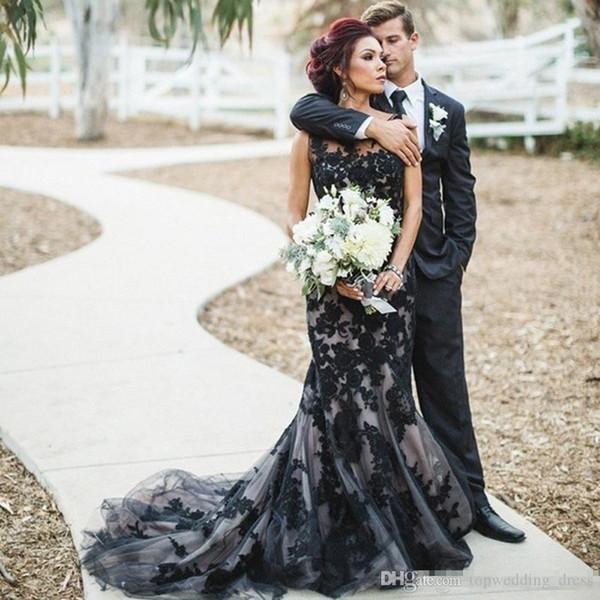 Noir gothique de sirène robes de mariée en dentelle 2019 Custom Made Noir Tulle Tissu de mariage Appliques Robes de mariée balayage train robe de mariage