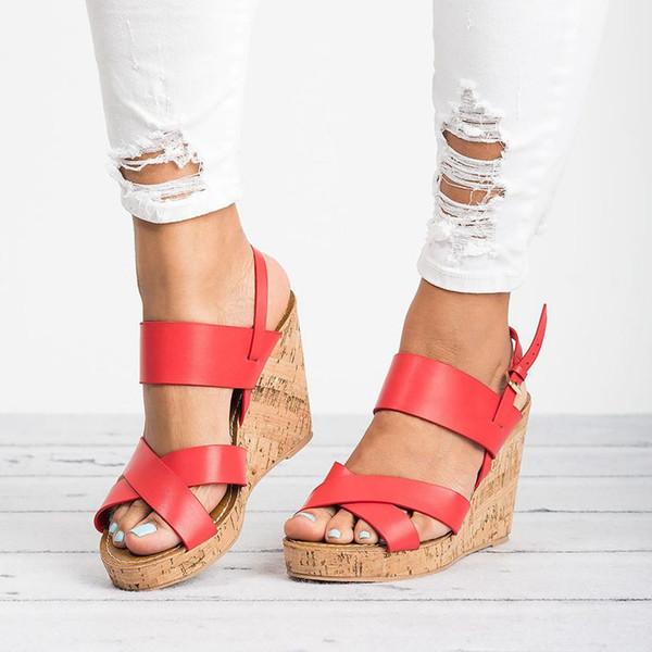 SHUJIN Torridity Frauen Sandalen Wedges Peep Toe Schuhe Heels Höhe Zunehmende Strand Damen Pumps Freizeitschuhe