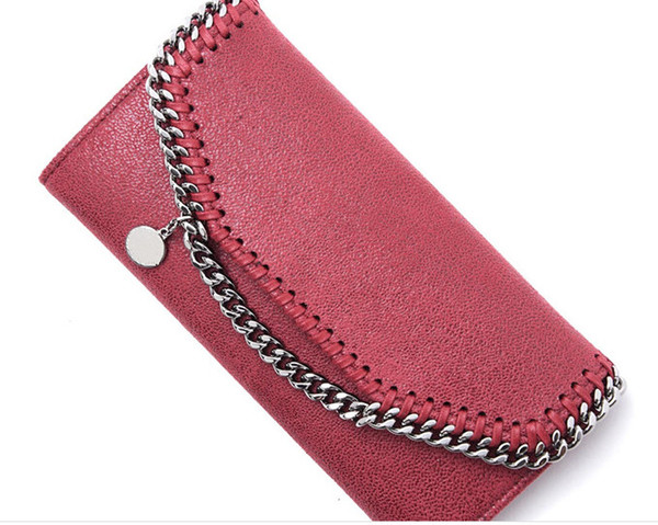 Factory outlet new list high quality Women's Foldover Clutch Wallets Chain Purse fashion pvc material fresh casual wallets