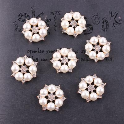 best selling baby Rhinestone Flower Alloyl Buttons for DIY hair accessories and wedding decoration pearl buttons Top quality 50 pcs