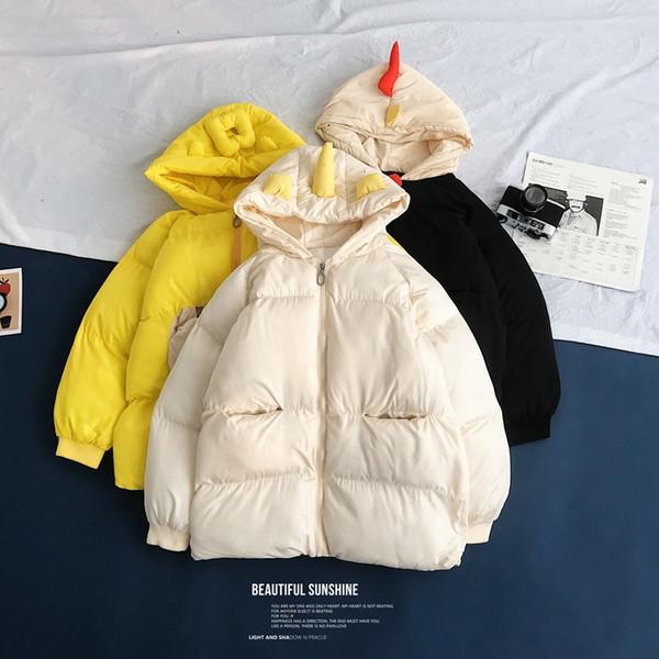 Abrigo de moda grueso Parka con capucha de los hombres de invierno chaqueta de los hombres del hombre de Calle salvaje flojo corto de dibujos animados Escudo de hombres Ropa S-XL