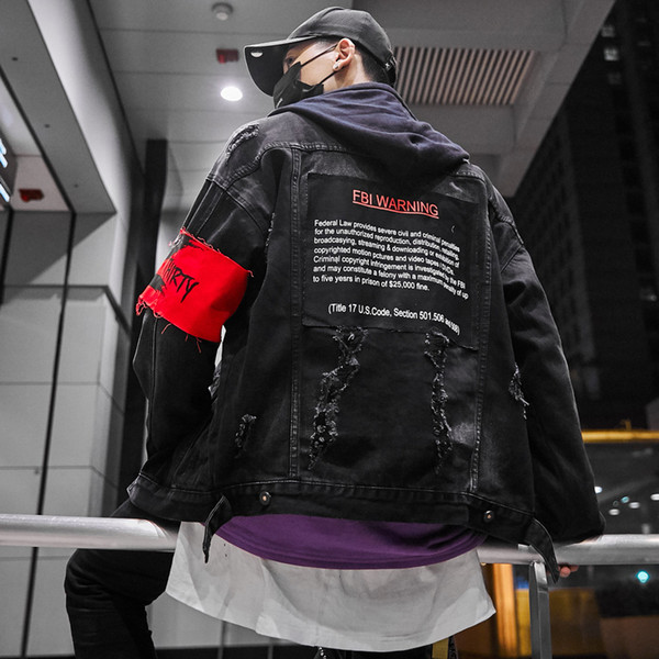 2019 New Men's Hip Hop Armband Denim Jackets Oversized Embroidery Ripped Jeans Jackets Spring Autumn Coat for Male L274