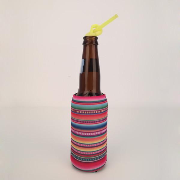 13.5 * 8cm Slim Sarape Can Wrap Al por mayor Blanks Neoprene Stripe Leopard Can Cooler Cubiertas de estaño Regalo de boda Beer Wraps envío gratis DOM1010