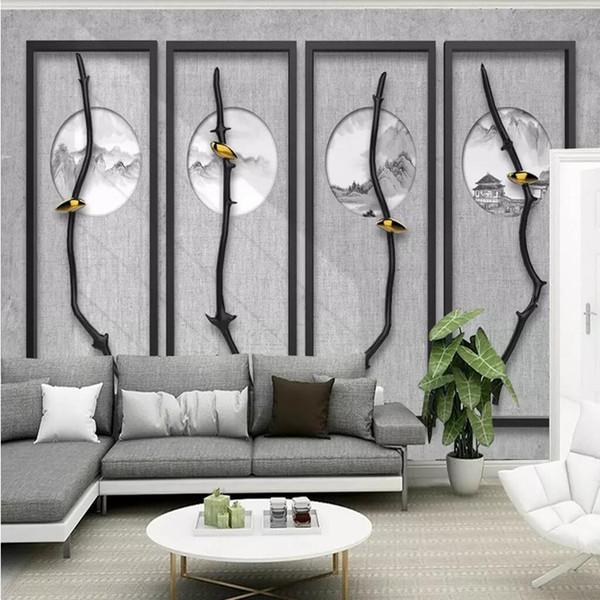 3d mural americano em um galho chinês, pequeno pássaro, ramo de flores, folhas, sala de estar, quarto, restaurante, parede, revestimento de parede