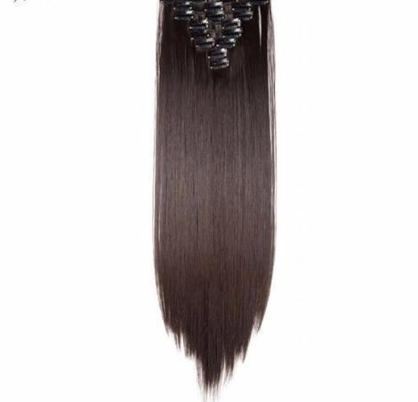 """fshion 8pcs/set 22"""" Hairpiece 175g Straight 18 Clips In False Styling Hair Synthetic Clip In Extensions Heat Resistant"""
