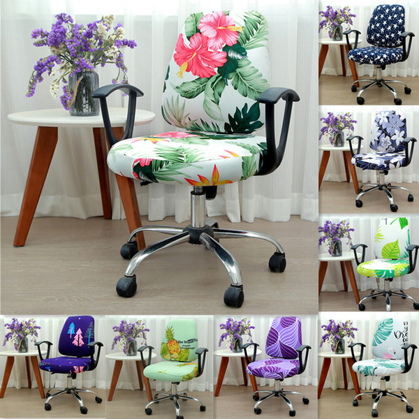 Modern Spandex Computer Chair Cover 100% Polyester Elastic Fabric Office Split Chair Cover Easy Washable Removeable