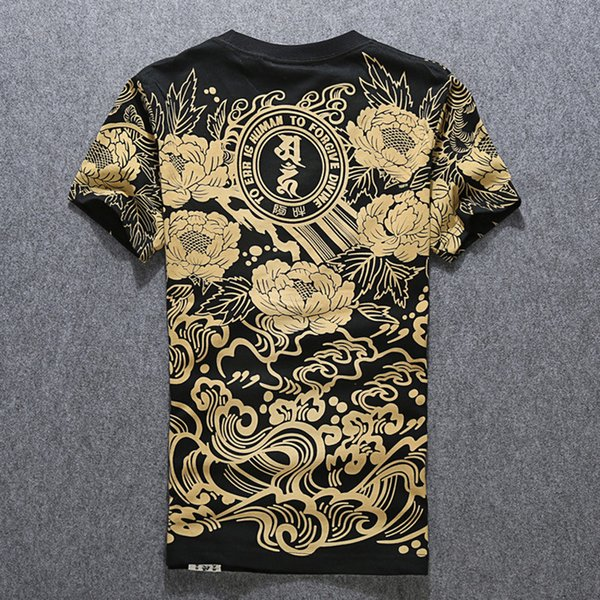 Print O-neck Cotton Tshirts Men T Shirt Homme Hip Hop New Is Popular Logo Summer Chinese Lotus Tattoo Half Sleeve Short 2019 T2190615