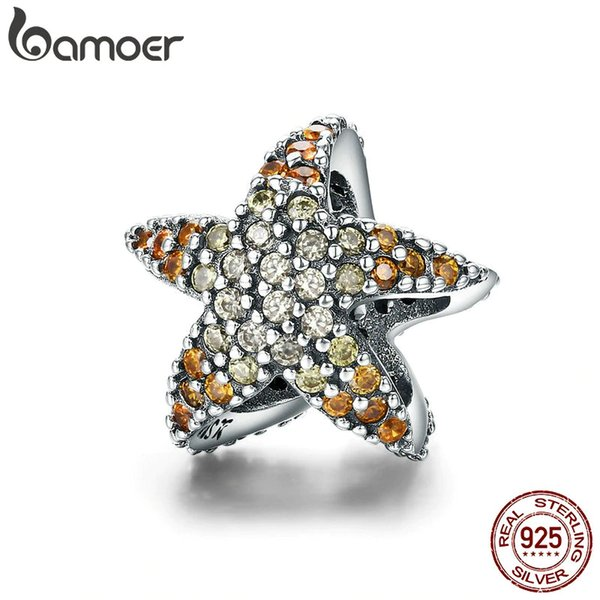BAMOER Authentic 925 Sterling Silver Ocean Star Starfish Beads Charm fit Original Charm Bracelet Fine Silver Jewelry SCC586