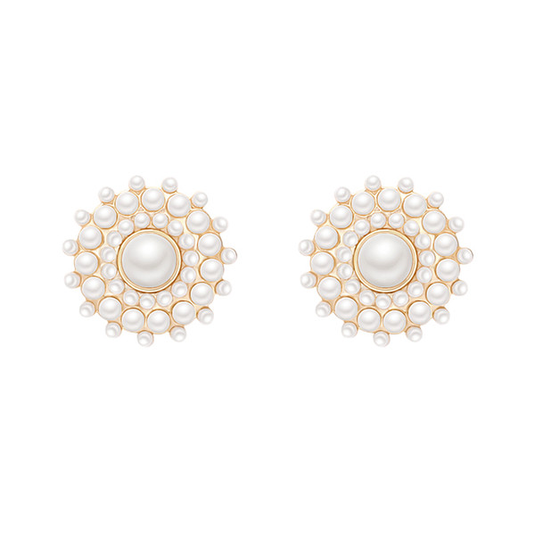 South Korea's simple set of small sunnails gentle delicate pearl temper Gentle Tempe EarPersonality Fashion Style Zircon Hollow-out Earrings