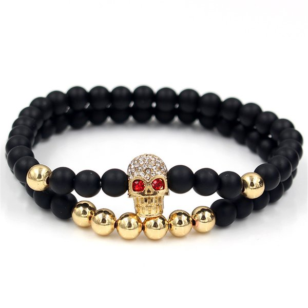 Faitheasy Joker 6mm Black Matting Copper Beads Drop Drill Human Skeleton Head Hand String Bracelet Suit