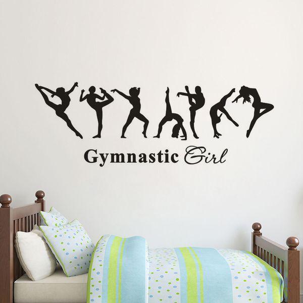 Removable Vinyl Wall Decal Gymnastics Girl Wall Sticker Kids Room Decor Ballet Dancer Wallpaper Gymnastics Wall Poster