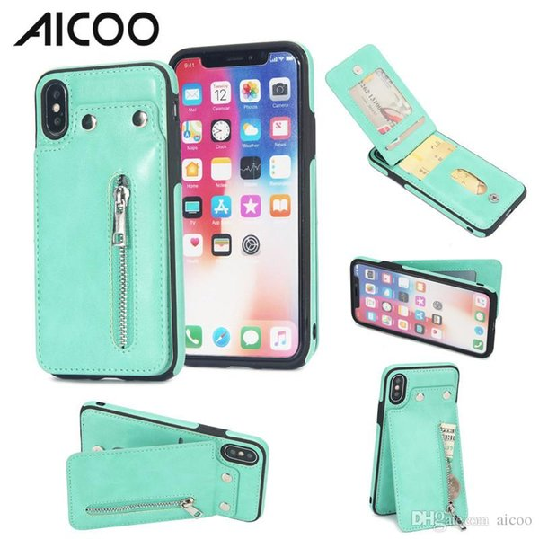 AICOO Zipper Leather Wallet Phone Case Shockproof Case with Credit Card Holder Kickstand for iPhone XS Max Samsung S9 Plus OPP