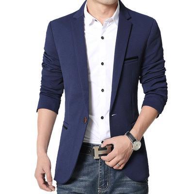 Mens al por mayor de Corea del ajuste delgado ocasional de la chaqueta de algodón traje chaqueta de color beige negro azul más el tamaño M a 5XL Hombre Blazers vestido de boda de la capa para hombre