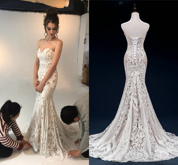 Expensive Lace Mermaid Wedding Dresses Strapless Lace-up Open Back Custom Made Wedding Dress Bridal Gowns vestido de novia Plus Size